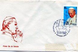 PERU 1988 FDC SEGUNDA VISITA DE SAN JUAN PABLO II AL PERU - NTVG. - Cristianismo