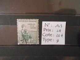 FRANCE YT 149 ORPHELINS DE GUERRE 5+5vert - Francia
