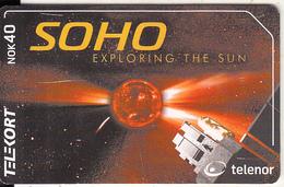 NORWAY(chip) - Soho Satellite(222), Tirage 50000, 08/01, Used - Ruimtevaart