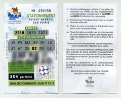 Carte Abonnement Stationnement Parking Payant Carcassonne Octobre 2019. Avec Pastille Holographique. - Tickets D'entrée
