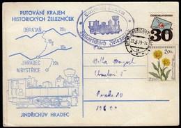 Czechoslovakia 1979 / History Railway Obratan - Jindrichuv Hradec / Train, Locomotive - Eisenbahnen