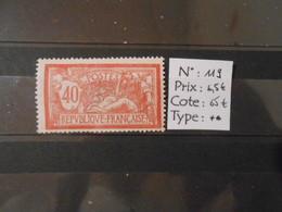FRANCE  YT119 TYPE MERSON 40c. Rouge Et Bleu** - 1900-27 Merson