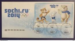 "Russia 2012. XXII Olympic Winter Games In Sochi 2014. Mascots. FDC. Sochi ""Hare"" Postmark - Inverno 2014: Sotchi"