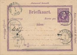 Nederlands Indië - 1882 - 5+5 Cent Willem III, Briefkaart G2a - Particulier Bedrukt - Van Batavia Naar Padang - Netherlands Indies