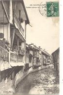 183. SALINS-LES-BAINS . VIEILLES MAISONS SUR LA FURIEUSE . CARTE AFFR SUR RECTO LE 6-6-1913 - Autres Communes