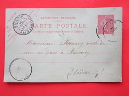 Carte Postale écrite CESSY-LES-BOIS (58) Oblitérée DONZY & Prémery (58) 21/07/1904 (cachet A) Timbre Entier Type MOUCHON - Enteros Postales