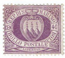 No. 5  40 C. Violett NO GUM (x) - Saint-Marin