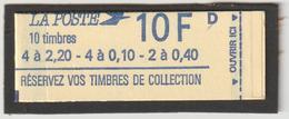CARNET USAGE COURANT - 1501 - Marianne De Delacroix  - RECTO   Réservez Vos Timbres 4x2.2 -4x0.40 - OUVERT -  LETTRE D - Standaardgebruik