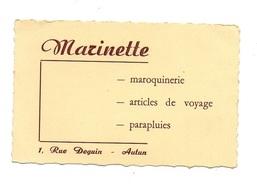 Carte De Visite Marinette Maroquinerie - Articles De Voyage - Parapluies Rue Deguin à Autun - Cartes De Visite