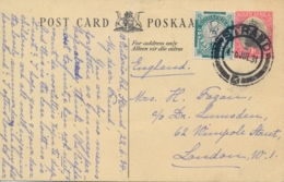 South Africa 1934 Postal Stationery Postcard 1 D. + ½ D. Springbok From Strand To Great Britain - Sud Africa (...-1961)