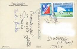 Dominican Republic 1980 Picture Postcard To Italy With Airmail Stamp 33 C. EXFILNA Philatelic Exposition + 1 C. Tax - Esposizioni Filateliche