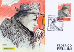 Italy 2020 FDC Maximum Card Centenary Birth Federico Fellini Cancel Of Rimini - Cinema