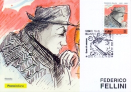 Italy 2020 FDC Maximum Card Centenary Birth Federico Fellini Cancel Of Roma Cinecittà - Cinema