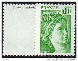France Sabine De Gandon N° 1970 C ** Le 0f80 Vert - Variété Gomme Tropicale Sans Bande De Phosphore - 1977-81 Sabine Of Gandon