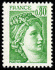 France Sabine De Gandon N° 1970 ** Le 0f80 Vert - 1977-81 Sabine Of Gandon