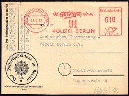 Germany Berlin 1954 / Police / Bei Gefahr Rufe An: 01 Polizei Berlin / Machine Stamp, ATM - Police - Gendarmerie