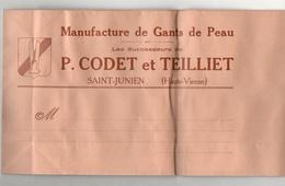 Sac En Papier Pliable Manufacture De Gants De Peau Les Successeurs De P. Codet Et Teilliet à Saint-Junien - Habits & Linge D'époque