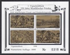 Vignettenblock 350 Jahre Westfälischer Frieden 1998  (26267 - Documenti Storici