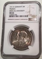 1911A 3 Mark Universität Breslau. NGC MS66 Deutsches Reich Preussen J.108(Germany Silver Coin Silber Gedenkmünze Monnaie - 2, 3 & 5 Mark Silber