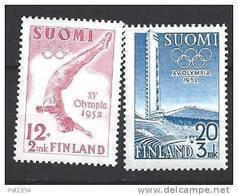 Finlande 1951 N° 382/383 Neufs ** MNH Surtaxe Pour Jeux Olympiques De 1952 - Finlandia