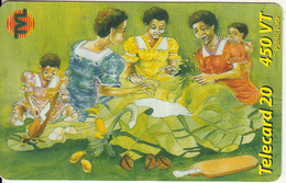 VANUATU - Women Preparing Laplap, Telecom Vanuatu Prepaid Card 450 Vt, Used - Vanuatu