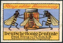 BEES Germany Reichenbach Paul Ring U. Co. Poster Stamp Vignette Bee Honey Biene Honig Abeille Miel Reklamemarke - Honeybees