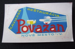HOTEL CAMPING AUTO INN POVAZAN NOVE MESTO CSSR CSR SLOVAKIA JUGOSLAVIA LUGGAGE LABEL ETIQUETTE AUFKLEBER DECAL STICKER - Hotel Labels