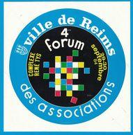AUTOCOLLANT VILLE DE REIMS 4eme FORUM DES ASSOCIATIONS COMPLEXE RENE TYS 29-30 SEPTEMBRE 84 - Aufkleber