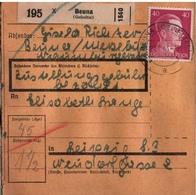 ! 1943 Paketkarte Deutsches Reich, Beuna Nach Leipzig, Zusammendruck Hindenburg - Covers & Documents
