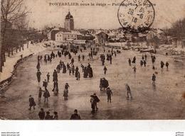 PONTARLIER SOUS LA NEIGE PATINAGE SUR LE DOUBS 1918 - Pontarlier