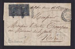 2x 10 Gr. Blau Auf Brief Ab Palermo Nach Nice - Desinfiziert - 1861-78 Victor Emmanuel II