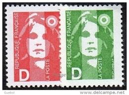 France N° 2711 Et 2712 ** Marianne Du Bicentenaire - Briat - Lettre D = Le Rouge + Le Vert - 1989-96 Marianne Du Bicentenaire
