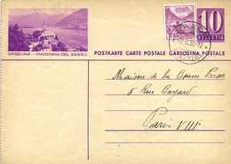 Entier Postal 10 HELVETIA + Timbre 10 ORSELINA MADONNA DEL SASSO + Beau Cachet SAXON (VALAIS )RV - Entiers Postaux