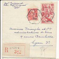 RHONE LAC 1949 AGENCE POSTALE DE LYON L EN LETTRE RECOMMANDEE - Marcophilie (Lettres)