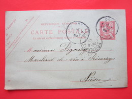 Carte Postale écrite CESSY-LES-BOIS (58) Oblitérée DONZY & Prémery (58) 16/04/1904 (cachet A) Timbre Entier Type MOUCHON - Ganzsachen