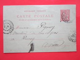Carte Postale écrite à CHAMPLEMY (58) Oblitérée CHAMPLEMY & Prémery (58) 29/09/1901 Timbre Entier Type MOUCHON - Ganzsachen