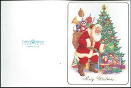 DOUBLE POSTCARD - Christmas - Santa Claus - Toys - Train - Taddy Bear - Horn - - Santa Claus