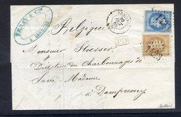 TRES RARE ERREUR DE CACHET SUR LETTRE CLASSIQUE Surtout à Cette époque - 1863-1870 Napoléon III Lauré