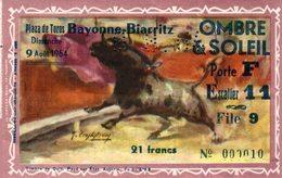 12217   BILLET PLAZA DES TOROS BAYONNE-BIARRITZ 9 AOUT 1964 - Tickets - Vouchers