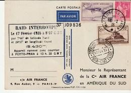 Carte Vol Postal France-Amérique Du Sud / Raid Interrompu/ Marseille Gare Avion,1935 /Porto Praia, Portugal - Poste Aérienne