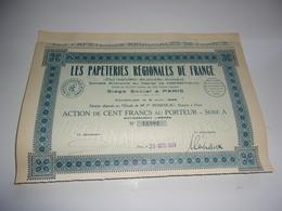 LES PAPETERIES REGIONALES DE FRANCE (1928) - Azioni & Titoli