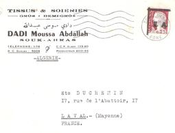 Algérie :-  SOUK AHRAS 0.25.Marianne De DECARIS Surchargé E.A.sur Lettre - Guerra D'Algeria