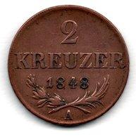 Autriche  -  2 Kreuzer 1848  -  état  TB+ - Autriche