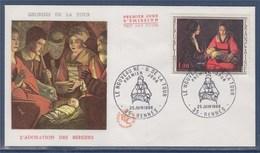 = Le Nouveau Né De Georges De La Tour Enveloppe 1er Jour Rennes 25.6.66 N°1479 - 1990-1999