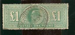 GRANDE BRETAGNE  EDWARD VII ONE POUND GREEN - 1902-1951 (Reyes)