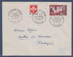 = Enveloppe 1er Jour Palmes Académiques Paris 24 Janvier 1959 N°1190 Complément 1186 - 1950-1959