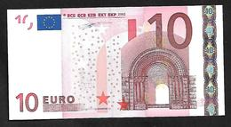 "Greece  ""Y"" 10  EURO  UNC! Duisenberg Signature!!  ""Y""   Printer  N001G1 ! - EURO"