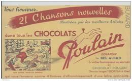 Buvard - CHOCOLAT POULAIN - 21 CHANSONS NOUVELLES - BON VOYAGE MONSIEUR DUMOLLET - Cocoa & Chocolat