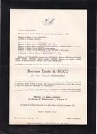 BRUXELLES UCCLE Gabrielle WAUCQUEZ Baronne Emile BECO 1908-1949 Famille NIVELLES  LIMPENS De SCHAETZEN - Décès