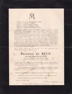 14-18 Médaille De La Reine Elisabeth NIVELLES UCCLE Laure HUET Veuve Baron Henri De BECO 1856-1934 Dessin Au Dos - Décès